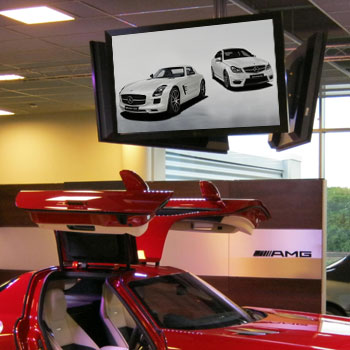 Audio visual installation in car showroom Surrey